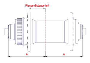 Distancia del centro del buje a la ala izquierda